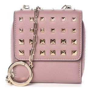 VALENTINO Calfskin Rockstud Compact Wallet With Ch